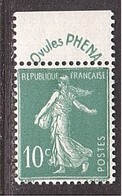 SEMEUSE 10c Chiffres Maigres + PUB Phéna **/* - 1906-38 Semeuse Camée