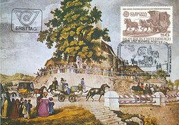 D38955 CARTE MAXIMUM CARD TRIPLE 1982 AUSTRIA - EUROPA CEPT COACH HORSES CP ORIGINAL - 1982