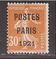 SEMEUSE Préo Paris 1921 30c Orange Signé Roumet - Préoblitérés