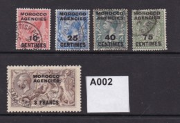 Morocco Agencies 5 Values In French Currency To 3Fr On2/6d - Morocco Agencies / Tangier (...-1958)