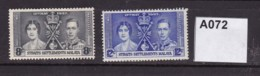 Straits Settlement 1937 Coronation 8c And 12c (MM) - Straits Settlements