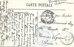 77-cachet Hôpital Temp. N°27 à Fontainebleau Sur CP En 1915-cachet Rare - Guerre De 1914-18