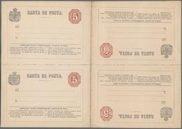 Rumänien - Ganzsachen: 1877/1882, Four Cards In Unsevered Multiples: 5b. Red-brown (Michel No. P12) - Ganzsachen