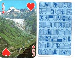 VISUEL Suisse Rhonegletscher Rhône Glacier  Carte à Jouer  Coeur  Playing Card TBE - Speelkaarten