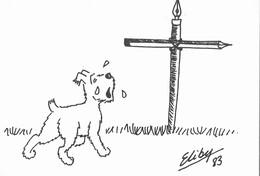 CARTE POSTALE TINTIN MILOU PLEURE LA MORT D'HERGE - Art De La Table