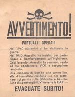 WWII WW2 Propaganda Leaflet Flugblatt Tract Italian  CODE I/10, AVVERTIMENTO! PORTIALI! OPERAI! - Vieux Papiers