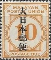 JAPANESE OCCUPATION OF MALAYA 1943 Postage Due Overprinted - 10c - Orange MH - Grande-Bretagne (ex-colonies & Protectorats)