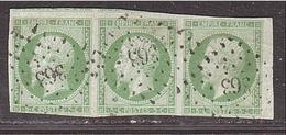 CREUSE EMPIRE Bande De 3 Du 5c Vert  NON-DENTELÉ, N° 12 -PC 363 Bénévent - 1853-1860 Napoléon III