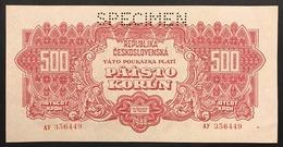 Cecoslovenska Czechoslovakia  500 KORUN 1944 UNC- Spl/fds SPECIMEN  Pick#49s Lotto 1852 - Cecoslovacchia