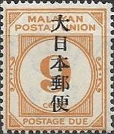 JAPANESE OCCUPATION OF MALAYA 1943 Postage Due Overprinted - 9c - Orange MH - Grande-Bretagne (ex-colonies & Protectorats)
