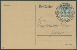SST 1919-1932 GUBEN GRAF ZEPPELIN FLUGSPORTVEREINIGUNG, 8.8.1926, Leer Gestempelte Karte (mit Teil-Anschrift), Pracht - Briefe U. Dokumente