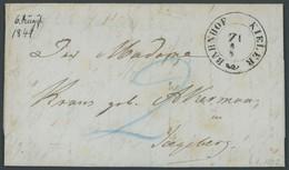 SCHLESWIG-HOLSTEIN 1849, BAHNHOF KIELER Z I, K2 Mit Blauen Taxvermerken Nach Segeberg, Prachtbrief Mit Inhalt - Allemagne