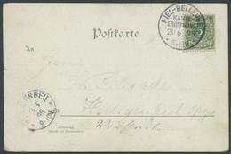 SST Bis 1918 02/1 BRIEF, KIEL-BELLEVUE, 21.6.1895, Auf Farblithographie Gruss Vom Nord-Ostsee Kanal Mit 5 Pf. Grün Auf B - Allemagne