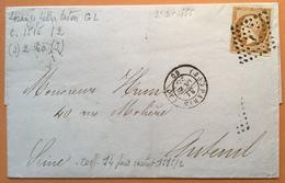 """LOSANGE """"J"""" + Bon Cad #1515/2 """"PARIS 1856 J2"""" IND 14 Affr. Yv 13 Lettre (France Empire 10c Cover - 1849-1876: Periodo Classico"""