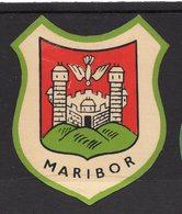 YUGOSLAVIA, SLOVENIA, MARIBOR, TOWN, CITY  LABEL, IMPREGNATED TEXTIL, 6 X 7.5 Cm - Hotel Labels