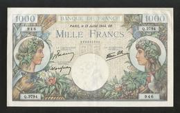 FRANCE - BANQUE De FRANCE - 1000 Francs COMMERCE ET INDUSTRIE ( 13 - JUILLET - 1944 GB. ) - 1 000 F 1940-1944 ''Commerce Et Industrie''