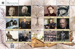 Moldova 2020, World Literature, Politician, Writer Winston Churchill, Sheetlet Of 12v - Moldawien (Moldau)