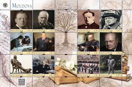 Moldova 2020, World Literature, Politician, Writer Winston Churchill, Sheetlet Of 12v - Moldavie