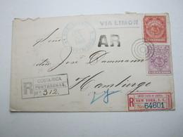 COSTA RICA ,   Einschreiben - Rückschein , Brief 1898 Nach Hamburg - Costa Rica