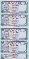 YEMEN 20 RIALS 1983 P-19a Sig/7 Sanabani LOT X5 UNC NOTES CV$125 */* - Yemen