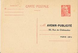 Carte Postale Pré-timbrée 12F (entiers Postaux TSC) - Adresse: Avenir Publicité Paris - Biglietto Postale