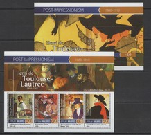 ML155 2015 MALDIVES ART PAINTINGS POST-IMRESSIONISM TOULOUSE-LAUTREC KB+BL MNH - Other