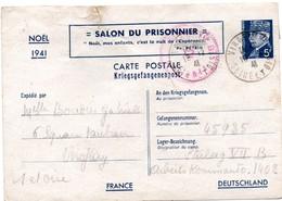 Salon Du Prisonnier Noël - Carte Pétain Postée De Viroflay 18.12.1941 Pour Stalag VII B - état Moyen (froissée) - Entiers Postaux