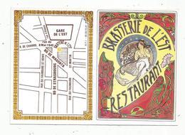 Carte De Visite, Carte De Fidélité ,4 Pages , Restaurant ,brasserie De L'Est ,gare De L'Est ,PARIS , 2 Scans - Visiting Cards