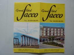 """Pieghevole Turistico Pubblicitario """"GRAND HOTEL SACCO - LIDO DI METAPONTO"""" Anni '60 - Dépliants Turistici"""