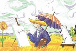CARTE POSTALE TINTIN ARTISTE PEINTRE - Art De La Table