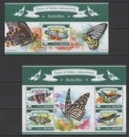 ML651 2015 MALDIVES FAUNA INDIAN SUBCONTINENT INSECT BUTTERFLIES KB+BL MNH - Farfalle