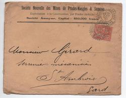 1901 - ENVELOPPE Des MINES De PRADES NIEIGLES ET SUMENE Avec CACHET PERLE De PRADES (ARDECHE) - Postmark Collection (Covers)