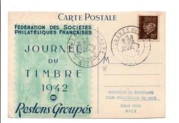 JOURNEE DU TIMBRE 1942 NICE - Marcophilie (Lettres)