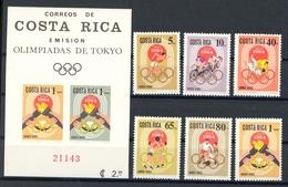 Costa Rica MiNr. 668-73 + Bl 7A Postfrisch MNH Olympia 1964 (Oly2187 - Costa Rica