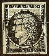 CERES N°3a 20c Noir / Blanc Oblitéré GRILLE 1849 Cote 65 Euro - 1849-1850 Ceres