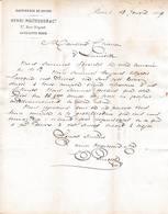 75 PARIS FACTURE 1869  Raffineur De Sucre Henri MOITESSIER    A108 Seine ( Marcophilie 20c ) Raffinerie 2 Scans - 1800 – 1899