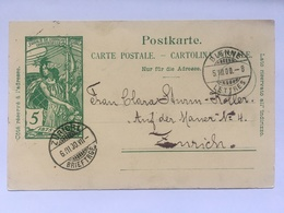 SWITZERLAND 1900 Carte Postale Bienne To Zurich - Jubile De L`union Postale Universelle - 1882-1906 Armoiries, Helvetia Debout & UPU