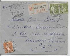 1935 - HAUTE SAONE - CACHET HEXAGONAL D'AGENCE POSTALE Sur ENVELOPPE RECOMMANDEE De AUBIGNEY - Storia Postale
