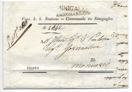 OCCUPAZIONE AUSTRIACA - RACCOMANDATA DA SENIGALLIA A MONSANO - 1849? - RARA. - Italia