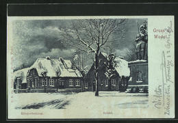 AK Wedel, Kriegerdenkmal Und Roland Im Schnee - Wedel