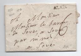 1787 - LETTRE Avec MP D'ALAIS / ALES (GARD) - 1701-1800: Precursores XVIII