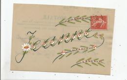 JEANNE CARTE EN CELLULOID ET PEINTE (DECOR FLEURS) 1907 - Prénoms