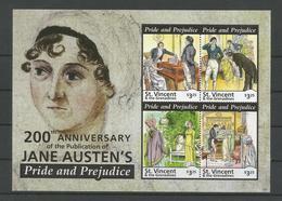 St Vincent 2013 Jane Austen Sheet 1  Y.T. 5736/5739 ** - St.Vincent (1979-...)