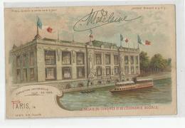 """Carte Système """" Tenir La Carte Vers Le Jour"""" Paris Exposition Universelle 1900 Palais Du Congrès Et De L'économie Social - Contraluz"""