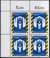"""BRD, 1993 Nr. 1649 **,  Viererblock Mit Eckrand Oben Links, """"Sicherheit Und Geundheitsschutz Am Arbeitsplatz"""" - Nuovi"""
