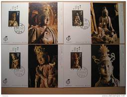 BODHISATTVA SCULPTURES  SKULPTUR LIAO DYNASTY BUDDHISM CHINA  CHINE 1982 Mi 1836-1839 MAXIMUM CARDS Buddha - Buddhism