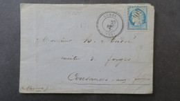 Lettre Du Val D'Osne ( Fonderies ) 1871 Obl GC 6067 Cachet Perlé De Curel Haute Marne Voir Scans - Marcophilie (Lettres)