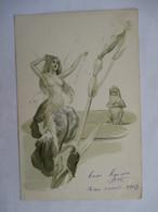 JEUNE FEMME PRESQUE   NUE  ET  GRENOUILLE        ....              PLI  BAS  G. - Illustrateurs & Photographes