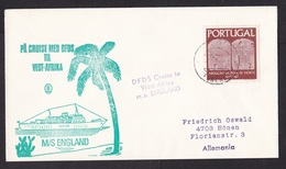 Portugal: Cover Funchal Madeira To Germany, 1960s, 1 Stamp, Ship Mail DFDS Cruise MS England, Paquebot? (traces Of Use) - Briefe U. Dokumente