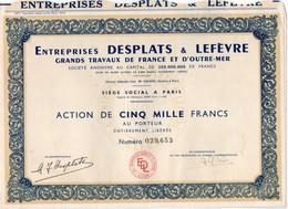 Action De 5000 Fr Entreprise DESPLATS & Lefevre Grands Travaux De France Et D'Outre Mer - Actions & Titres